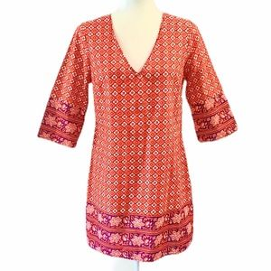 Old Navy Geometric Red 3/4 Sleeve Shift Dress